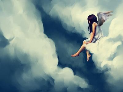Painting of Beautiful Angel Sitting on a Cloud