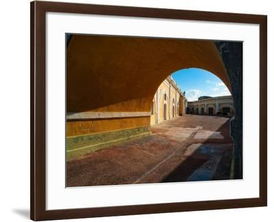 Archway and Yard, El Morro Fort, San Juan-George Oze-Framed Photographic Print