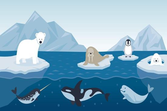 Arctic Animals Character and Background, Winter, Nature Travel and Wildlife- MuchMania-Art Print