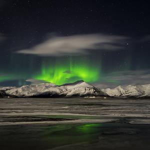 Aurora Borealis over Mt Hoffell, Hoffellsjokul Glacier, Iceland by Arctic-Images