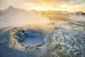 Boiling Mud Pots in Geothermal Area, Iceland by Arctic-Images