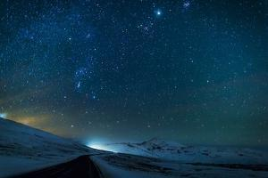 Milky Way Galaxy with Aurora Borealis or Northern Lights by Arctic-Images