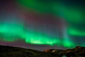 Northern Lights or Aurora Borealis over Mt. Ulfarsfell, Near Reykjavik, Iceland by Arctic-Images