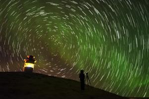 Star Trails and Aurora Borealis or Northern Lights, Iceland by Arctic-Images