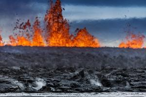 Steaming Lava and Plumes at the Holuhraun Fissure Eruption near Bardarbunga Volcano, Iceland by Arctic-Images