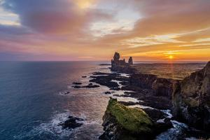 Sunset over the Londrangar Sea Stacks and the Thufubjarg Cliffs, Snaefellnes Peninsula, Iceland by Arctic-Images