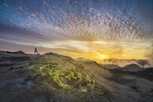 Tourist in Geothermal Landscape at Sunset, Iceland by Arctic-Images