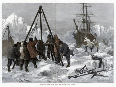 Arctic Life, Cutting a Way Out of the Ice from Winter Quarters, 1875-W Palmer-Giclee Print