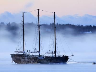 Arctic Sea Smoke Drifts by Raw Faith, an 88-Foot Galleon, on a Minus-12 Degree F Morning--Photographic Print