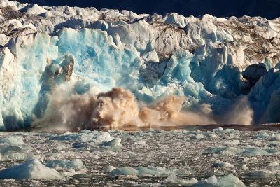 Arctic, Svalbard. 20M High Turquoise Glacier Calving into the Sea-David Slater-Photographic Print