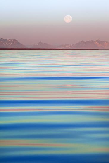 Arctic, Svalbard, Longsfjorden. Moonrise at Midnight-David Slater-Photographic Print