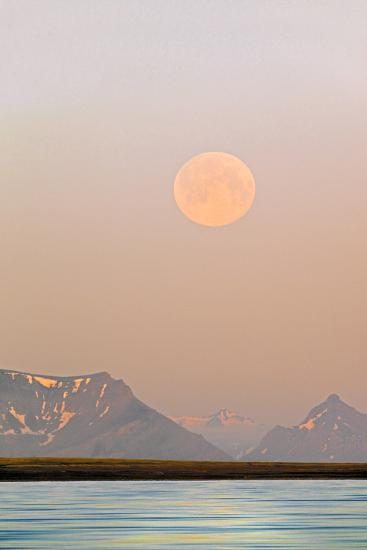 Arctic, Svalbard, Longsfjorden. Moonrise Rises Through Dust at Midnight-David Slater-Photographic Print
