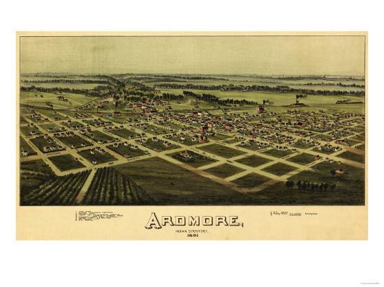 Ardmore, Oklahoma - Panoramic Map - Ardmore, OK-Lantern Press-Art Print