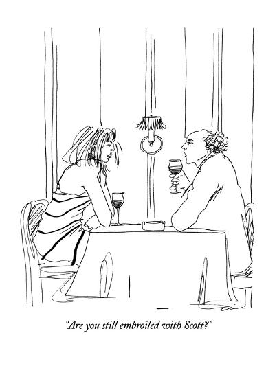 """""""Are you still embroiled with Scott?"""" - New Yorker Cartoon-Richard Cline-Premium Giclee Print"""