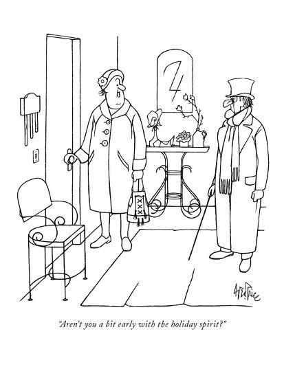 """Aren't you a bit early with the holiday spirit?"" - New Yorker Cartoon-George Price-Premium Giclee Print"