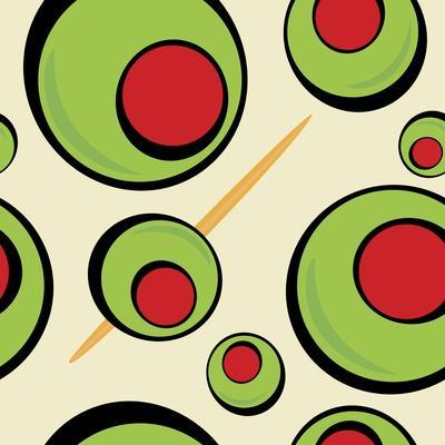 A Green Olives Pattern that Tiles Seamlessly in a Pattern in Any Direction. Great for a Martini Gra