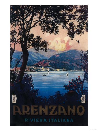 Arenzano, Italy - Italian Riviera Travel Poster - Arenzano, Italy-Lantern Press-Art Print