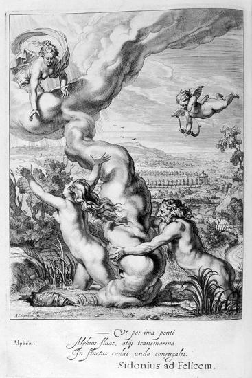 Arethusa Pursued by Alpheus and Turned into a Fountain, 1655-Michel de Marolles-Giclee Print