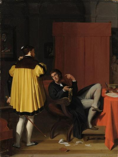 Aretino and the Envoy of Charles V-Jean-Auguste-Dominique Ingres-Giclee Print