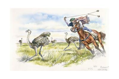 Argentina - Herdsmen Hunting Rheas in the Pampas--Giclee Print