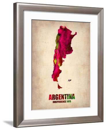 Argentina Watercolor Map-NaxArt-Framed Art Print