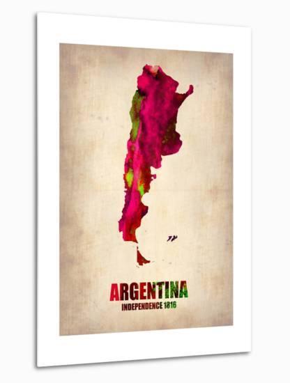 Argentina Watercolor Map-NaxArt-Metal Print