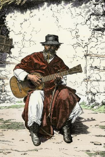 """Argentinian """"Gaucho Cantor,"""" or Cowboy Guitar-Player of the Pampas, 1800s--Giclee Print"""