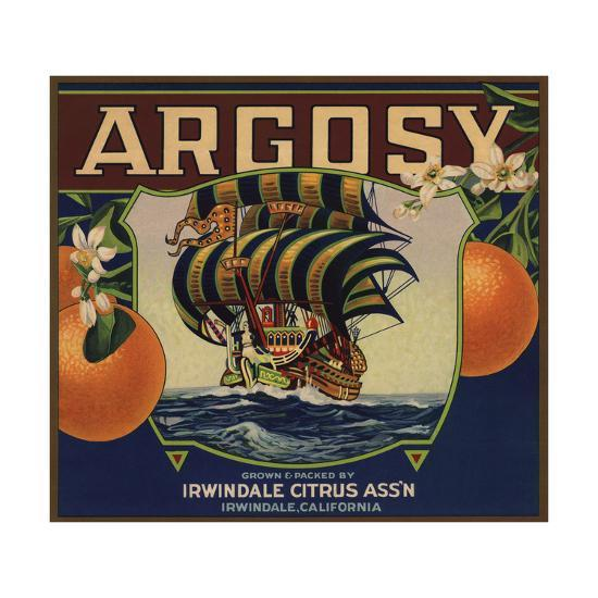 Argosy Brand - Irwindale, California - Citrus Crate Label-Lantern Press-Art Print
