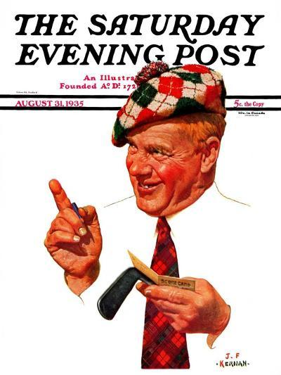 """Argyle Golfer,"" Saturday Evening Post Cover, August 31, 1935-J^F^ Kernan-Giclee Print"