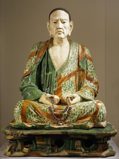 Arhat Tamrabhadra Seated, Glazed Tri-Color Terracotta Statue, China--Giclee Print