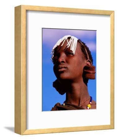 Maasai Girl with White Beads Indicating She Has Been Circumcised, Longido, Arusha, Tanzania