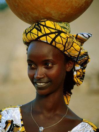 Smiling Peul (Or Fula) Woman Balancing Calabash on Her Head, Djenne, Mali