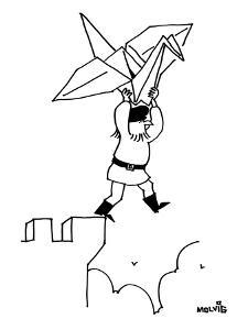 A bearded man stands at the top of a castle ledge, with an origami paper c? - New Yorker Cartoon by Ariel Molvig
