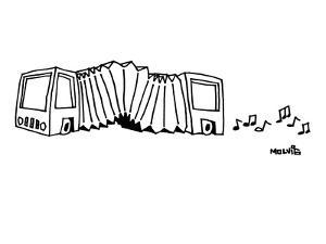 A bus is an accordion.  Musical notes come out the back. - New Yorker Cartoon by Ariel Molvig
