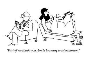 A centaur reclines on a couch. His psychiatrist sits beside him in the opp? - New Yorker Cartoon by Ariel Molvig