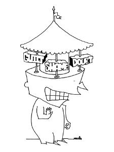 A large-headed man has a merry-go-round for a brain. In place of horses, t? - New Yorker Cartoon by Ariel Molvig