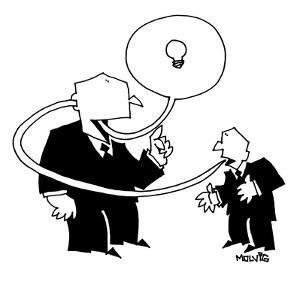 A little man says an idea which goes through the ear of a bigger business ? - New Yorker Cartoon by Ariel Molvig