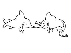 A sword fish is looking at a fish with a gun for a mouth. - New Yorker Cartoon by Ariel Molvig