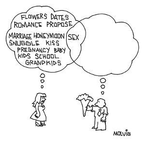 (Flowers, Dates, Romance, Propose, etc...) - New Yorker Cartoon by Ariel Molvig