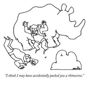 """""""I think I may have accidentally packed you a rhinoceros."""" - New Yorker Cartoon by Ariel Molvig"""