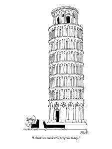 """I think we made real progress today."" - New Yorker Cartoon by Ariel Molvig"