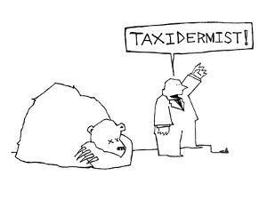 Man standing beside dead bear yells, 'Taxidermist!' - New Yorker Cartoon by Ariel Molvig