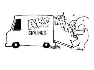 """Man walks behind truck pulling a skyline out of the open backdoor. The tru?"""" - New Yorker Cartoon by Ariel Molvig"""