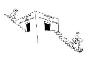 Paparazzi angel climbing stairs to doorway that reads, 'Welcome To Paparaz? - New Yorker Cartoon by Ariel Molvig