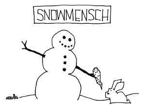"""""""Snowmensch"""" Snowman hands his carrot nose to a rabbit. - New Yorker Cartoon by Ariel Molvig"""