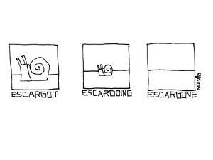 """Three pictures of snails in boxes, reading respectively: """"Escargot"""", """"Esca? - New Yorker Cartoon by Ariel Molvig"""