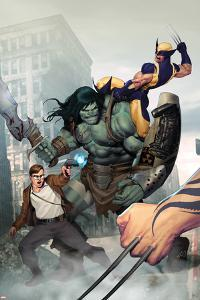 Incredible Hulk No.603 Cover: Skaar, Wolverine, Banner and Bruce by Ariel Olivetti
