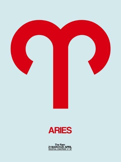 Aries Zodiac Sign Red-NaxArt-Art Print