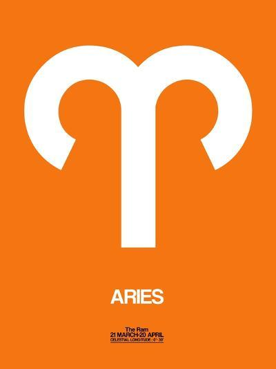 Aries Zodiac Sign White on Orange-NaxArt-Art Print
