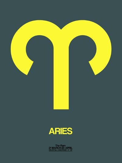 Aries Zodiac Sign Yellow-NaxArt-Art Print